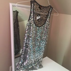 Gray Sparkle Glitter Tank Top with Lace Back